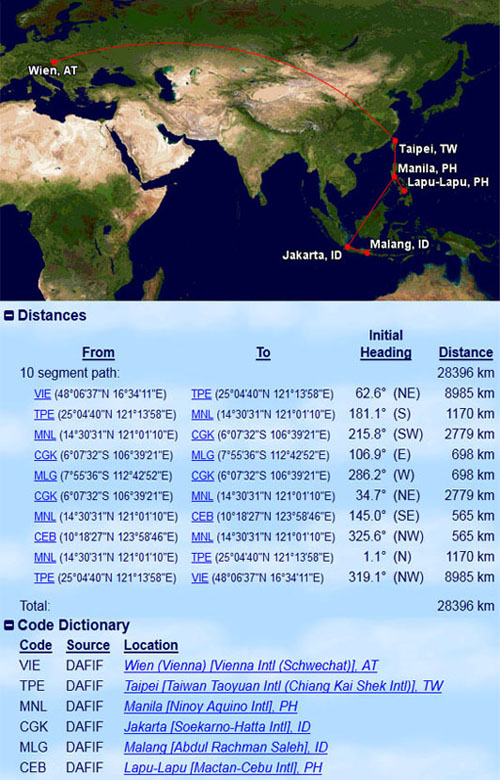 Flugplan meiner Asientour