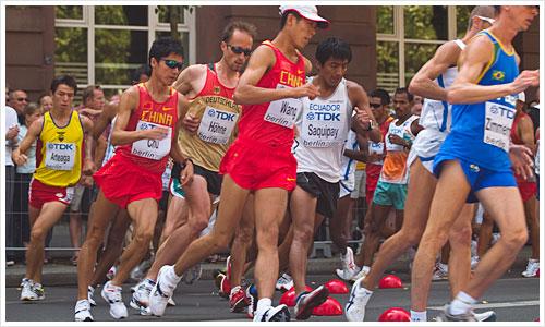 Höhne bei dem 20 km Gehen während der IAAF 09