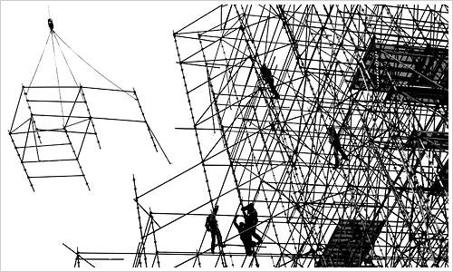Gerüst mit Arbeitern am Leipziger Platz
