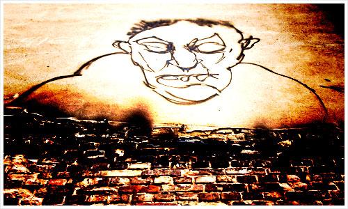 Ein Grafitti auf einer Brandmauer
