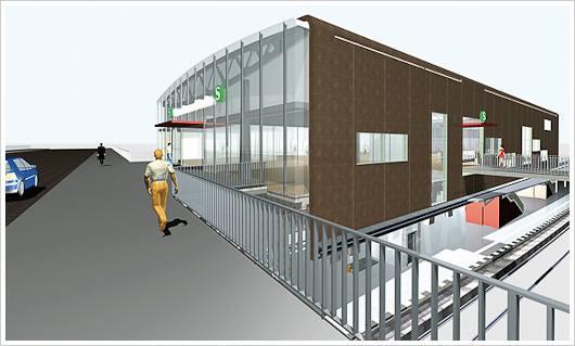Eine Grafik des zukünftigen Bahnhofs Berlin Warschauer Strasse