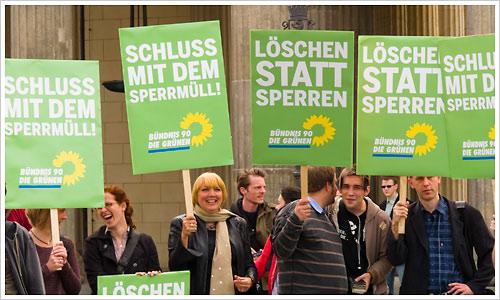 Die Grünen bei der Demo zur Internetsperre