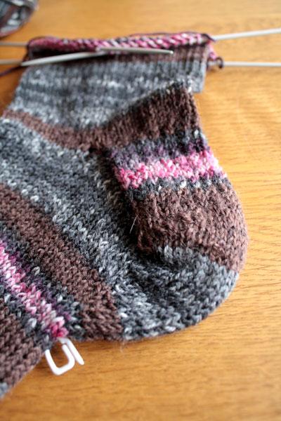 Detail Socken aus Aldi-Wolle