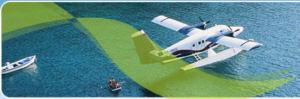 Mit den Wasser Flugzeug zu den Inseln in Griechenland